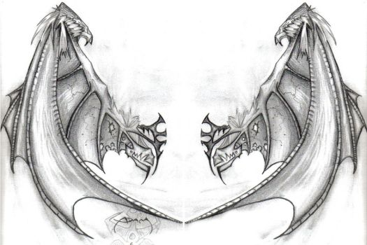 Sketch of the wings for the tattoo on the back