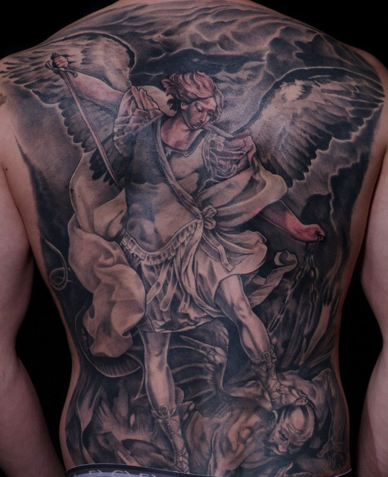 angel tattoo punishing the devil