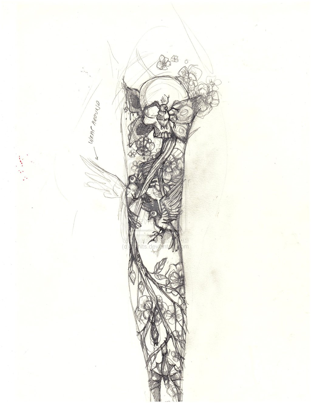 Sketch for tattoos of a sleeve - with a set of various elements