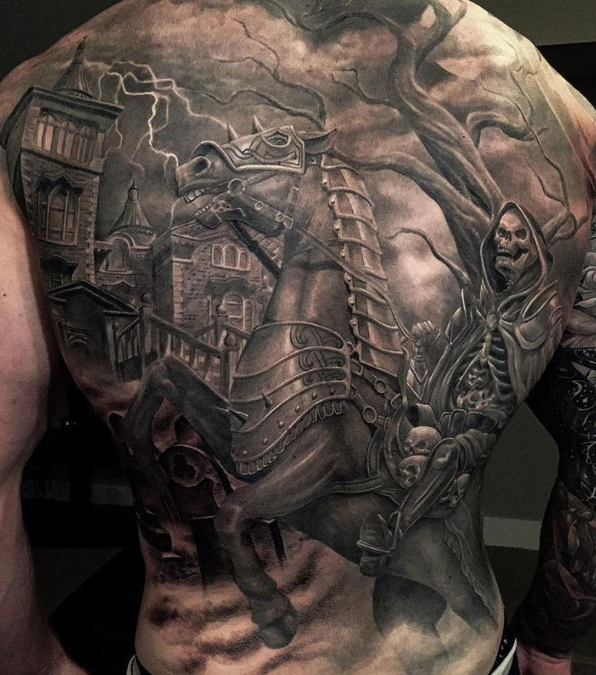 tattoo of a skeleton of a knight on a horse