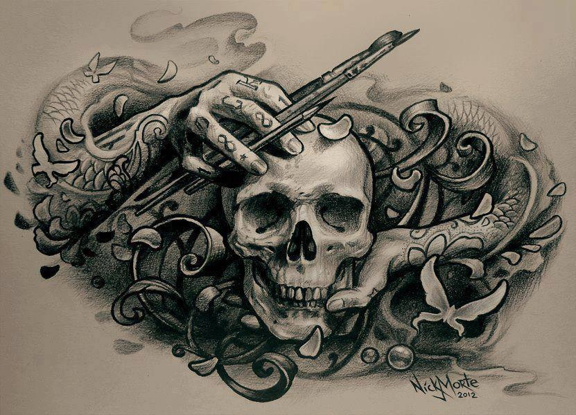 sketch for a tattoo - skull