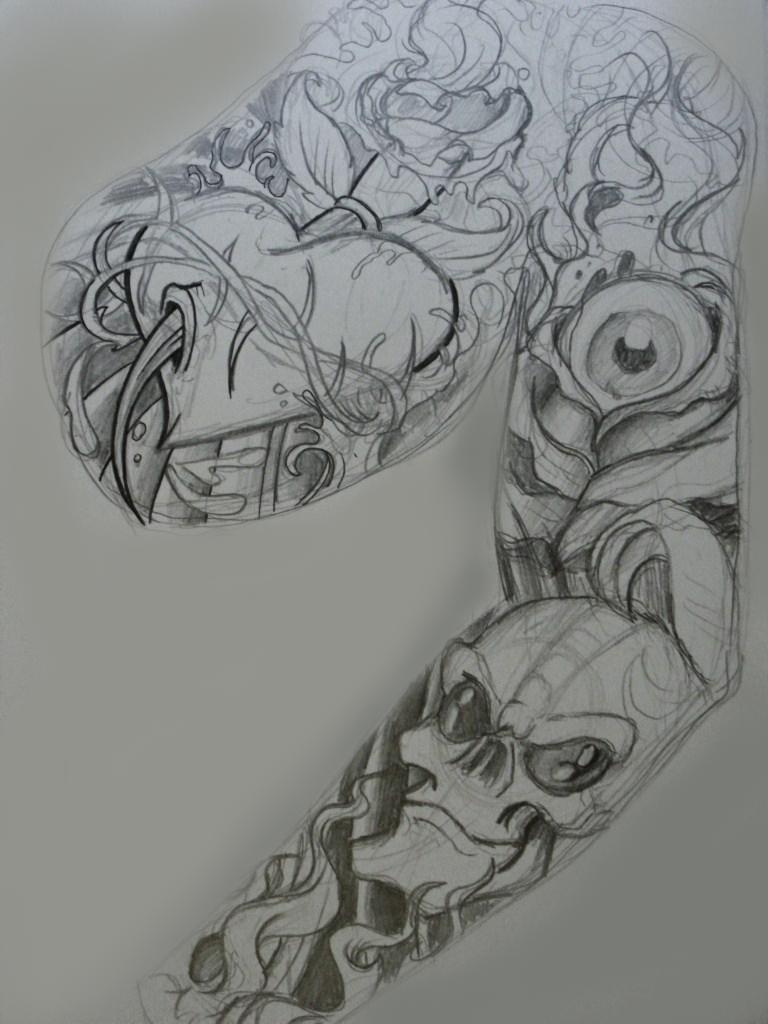 Sketch for tattoo sleeves with a piece of drawing on the chest