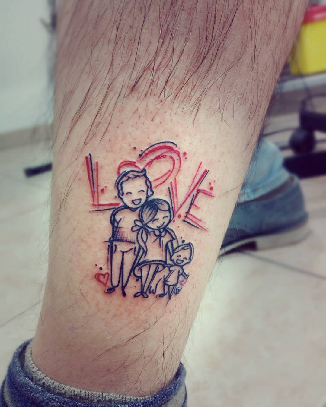 Sketch of a tattoo - Love of the family