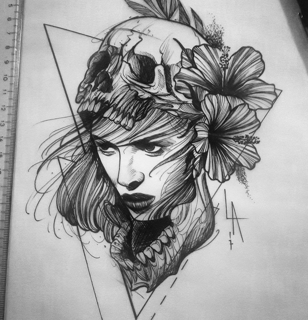 Sketch for a tattoo of a sleeve or other place - a girl with a skull mask
