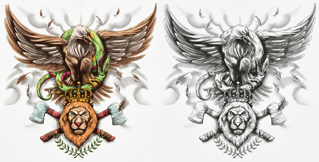Sketch of tattoo - eagles in color and black and white