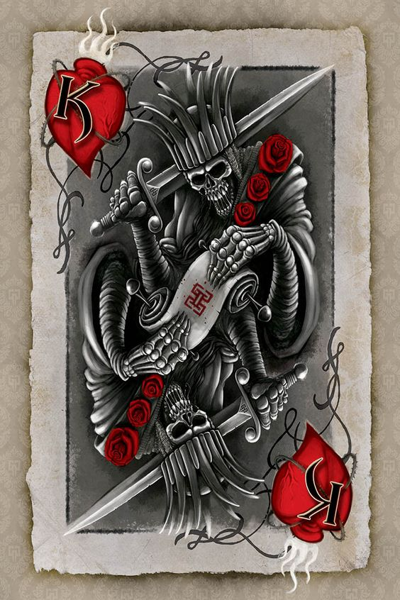 Sketch for tattoo - playing card of the king
