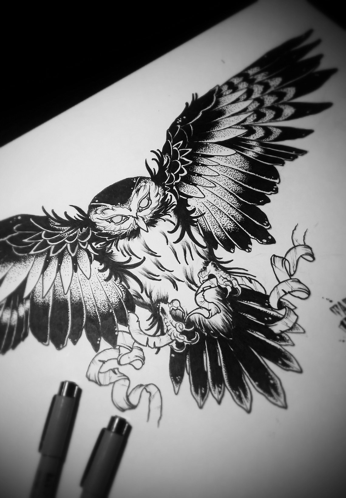 Sketch of tattoo - owls
