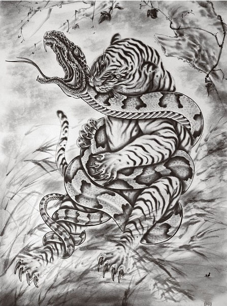Sketch of the Tiger attacking the snake