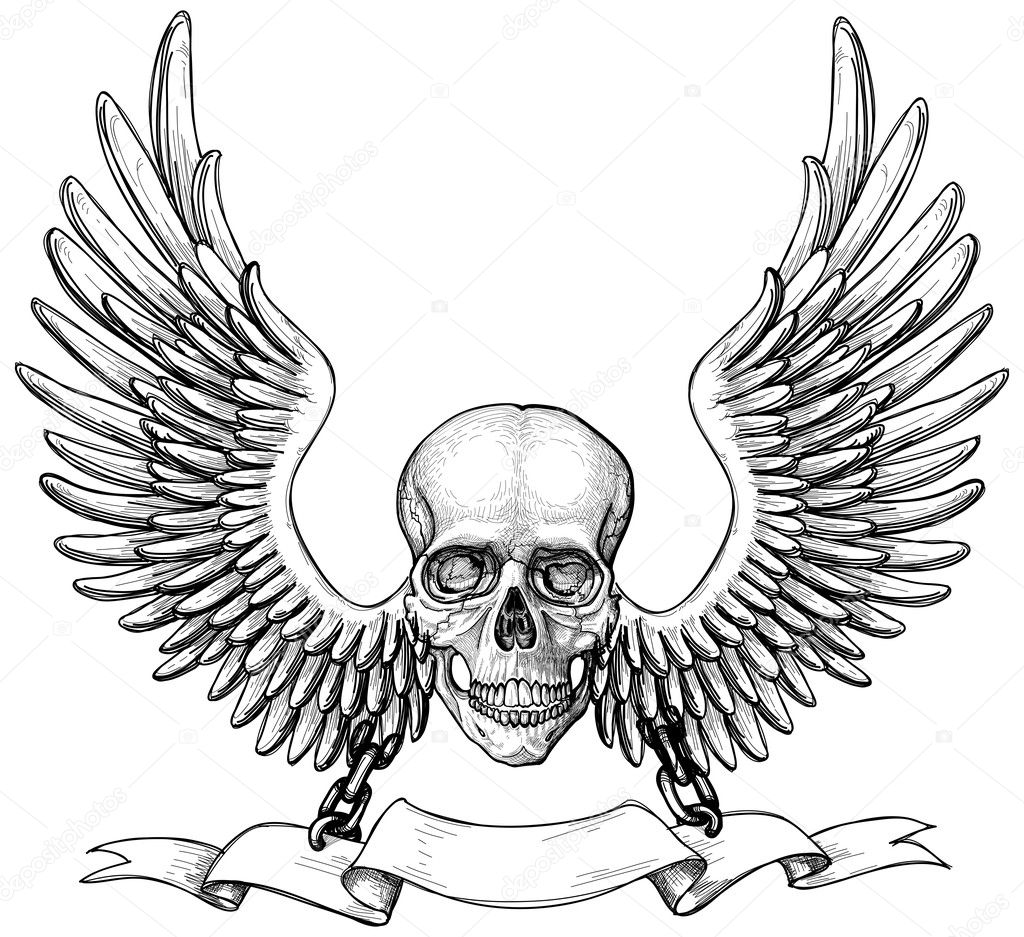 Sketch of tattoo - skull with wings
