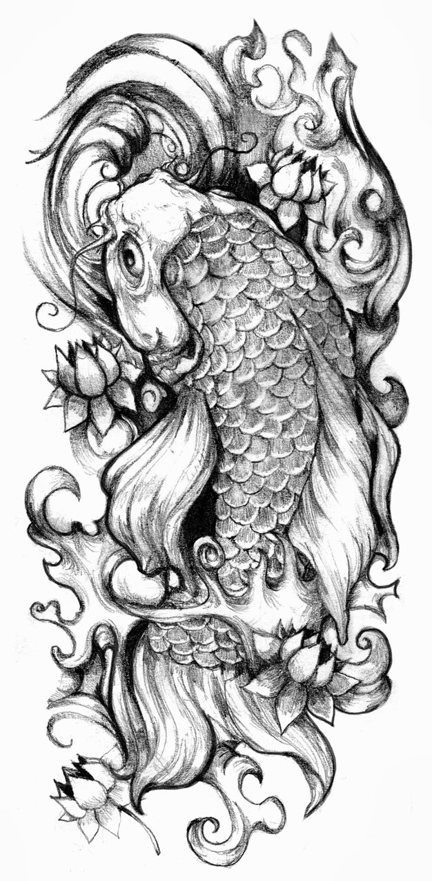 Sketch for tattoo sleeves - carp koi