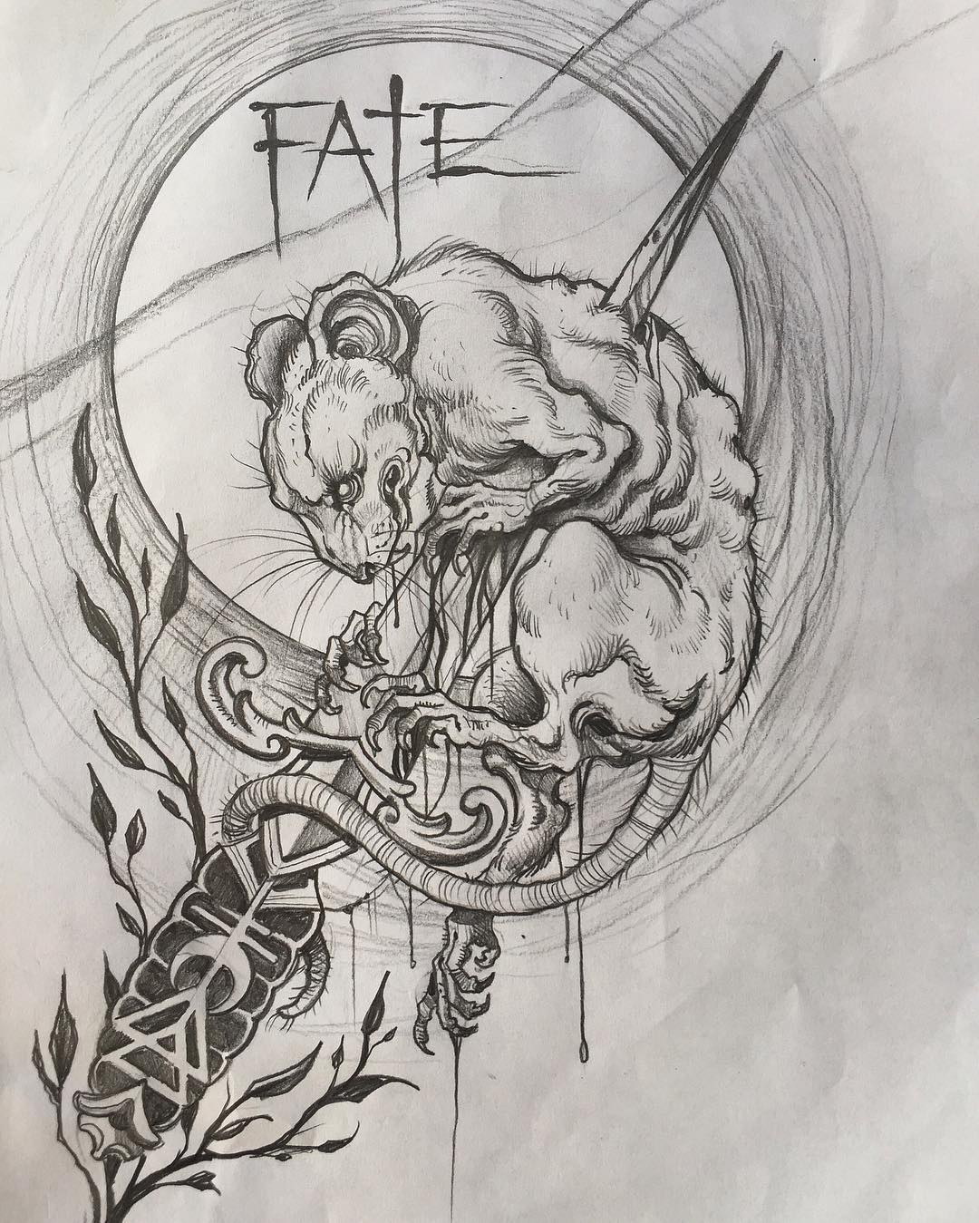 Sketches for a rat tattoo