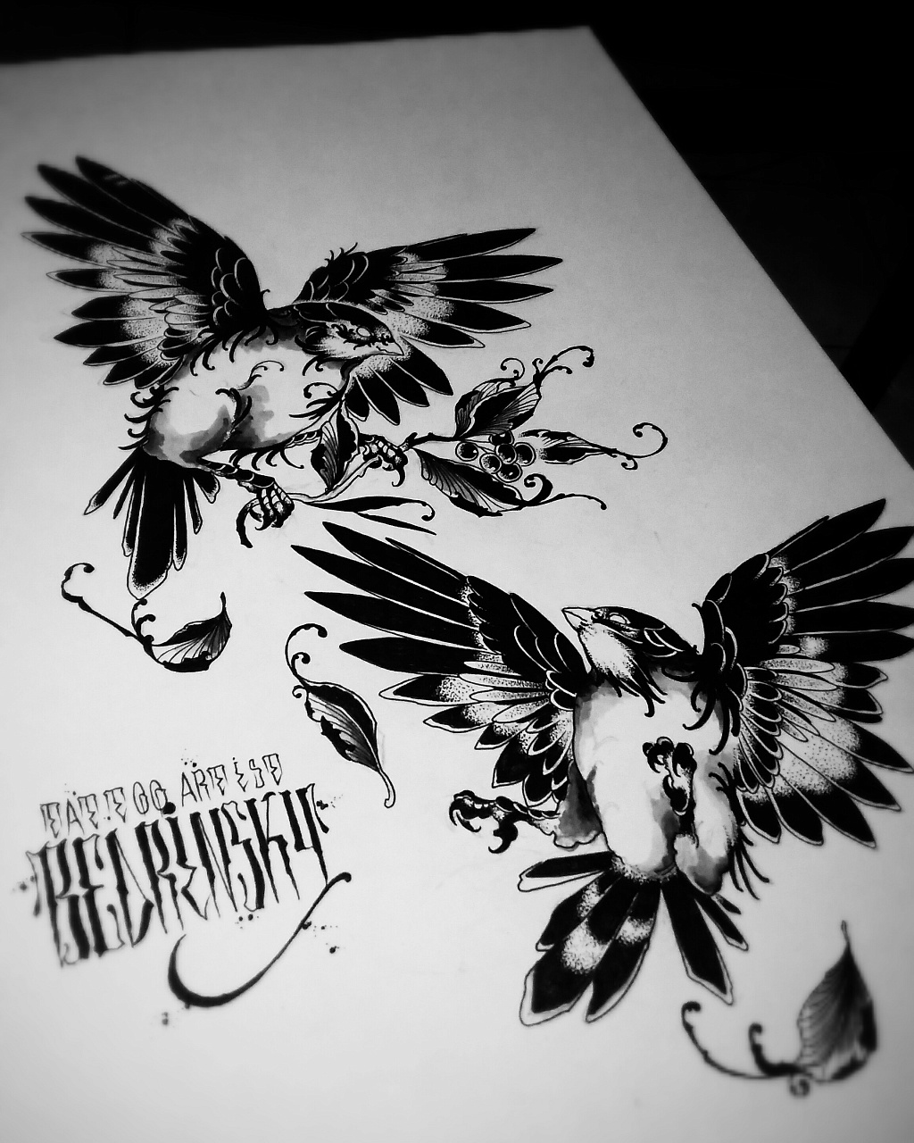Sketch of tattoo - birds