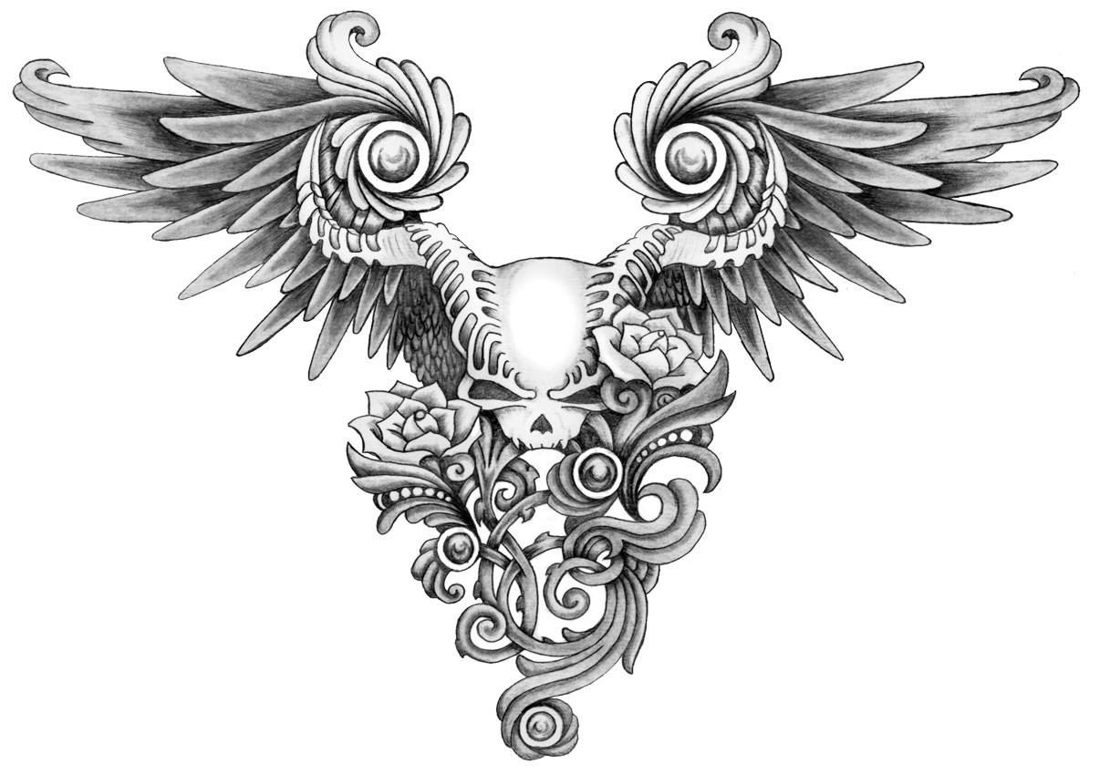 Sketch of tattoo - in the form of wings and skull