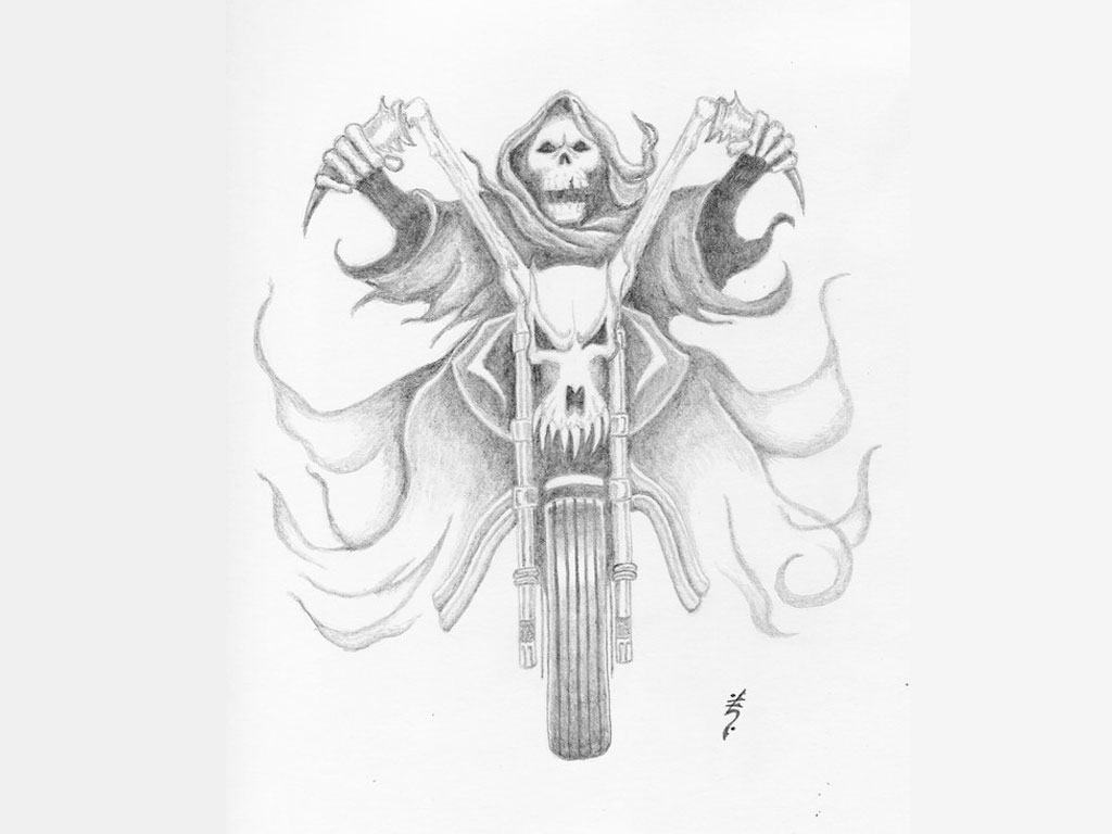 Sketch of a tattoo - a common drawing for a tattoo, death on a motorcycle