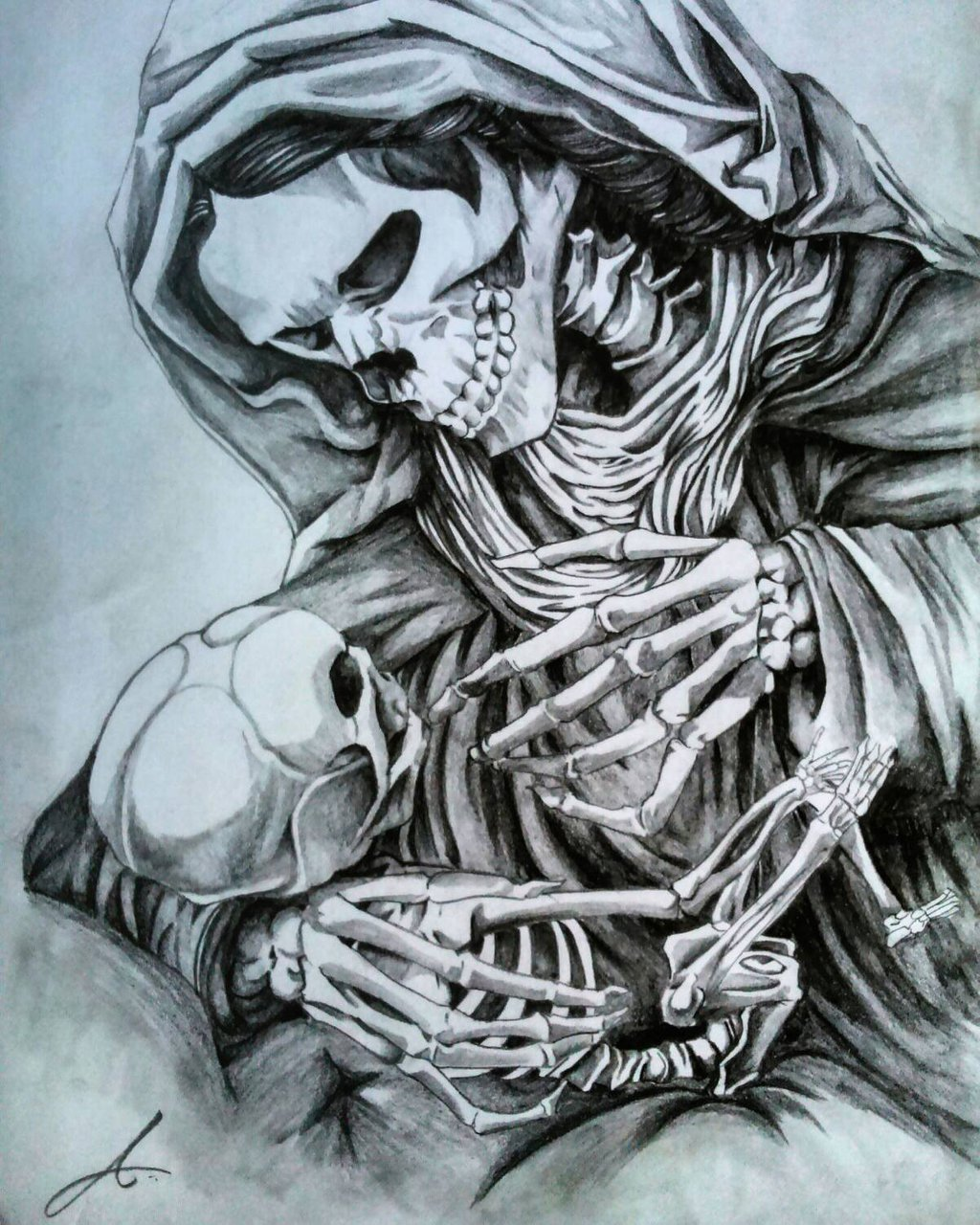 Sketch of a tattoo - A mother with a child in the form of skeletons