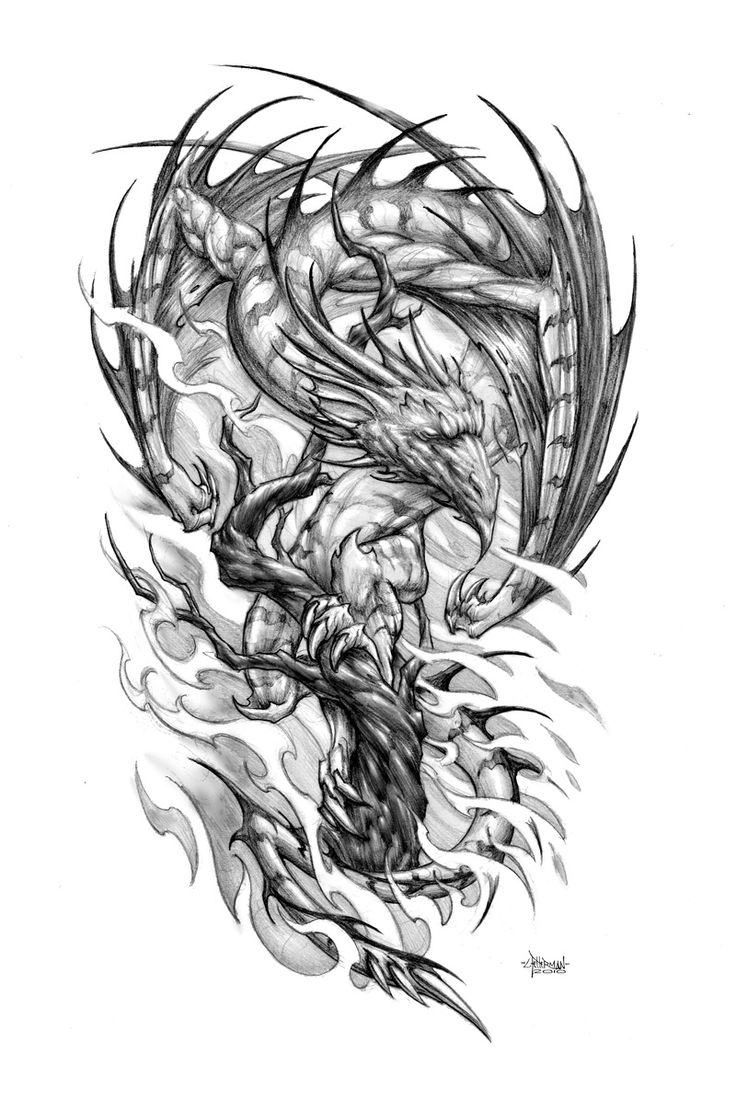 Sketch of a tattoo - a dragon