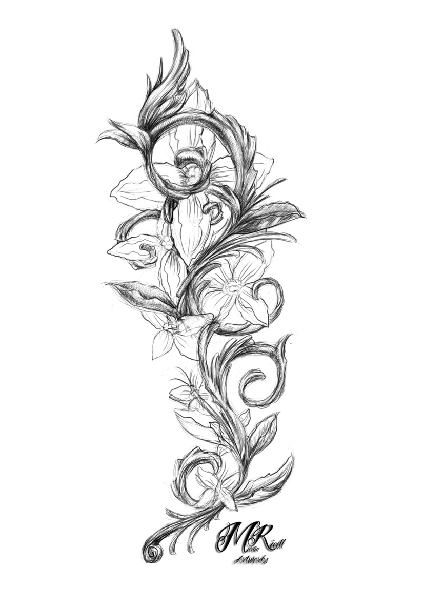 Sketch of a tattoo - an ivy flower