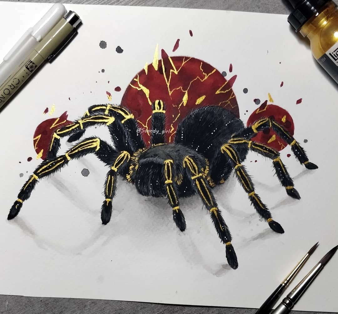 sketch tattoo spider