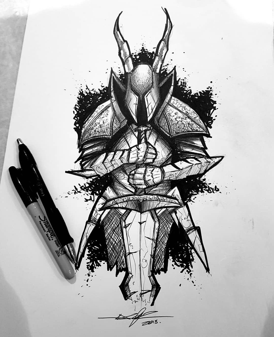 knight tattoo sketch