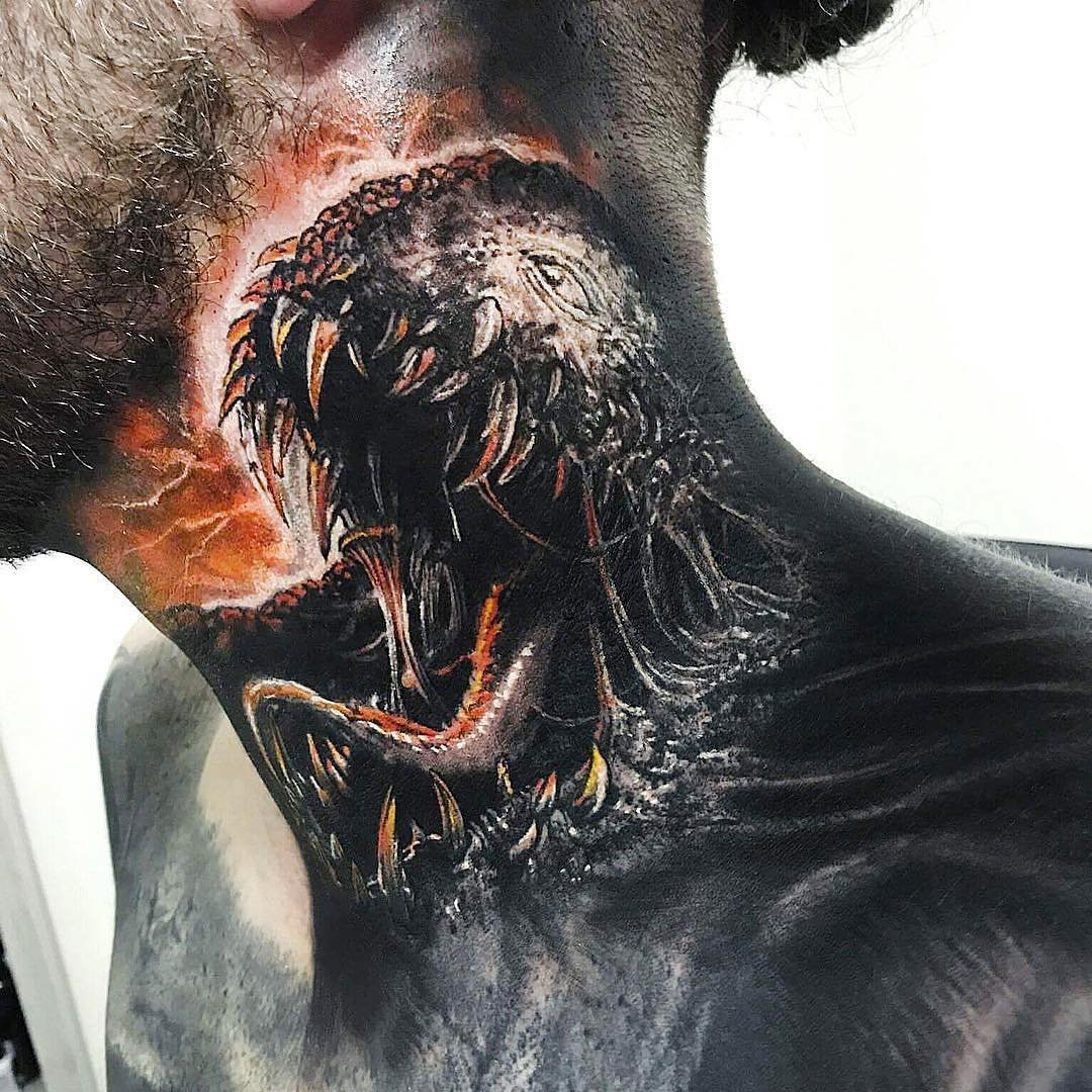 Venom tattoo on the neck