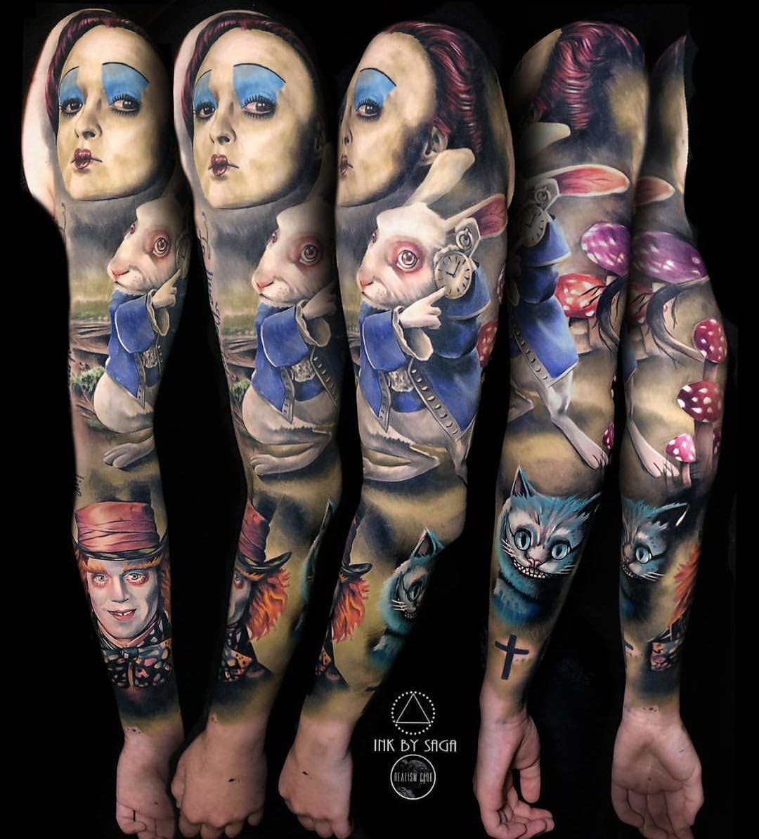 sleeve with characters from alice in wonderland