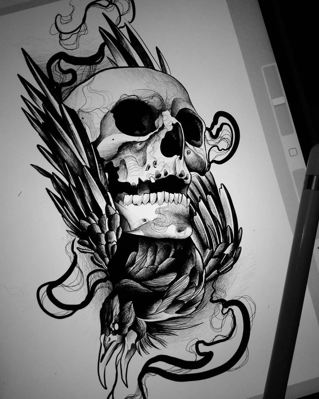 sketch for tattoo in the form of a skull