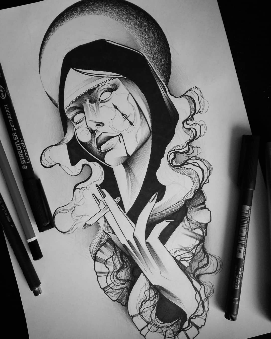 sketch for tattoo in the form of a nun
