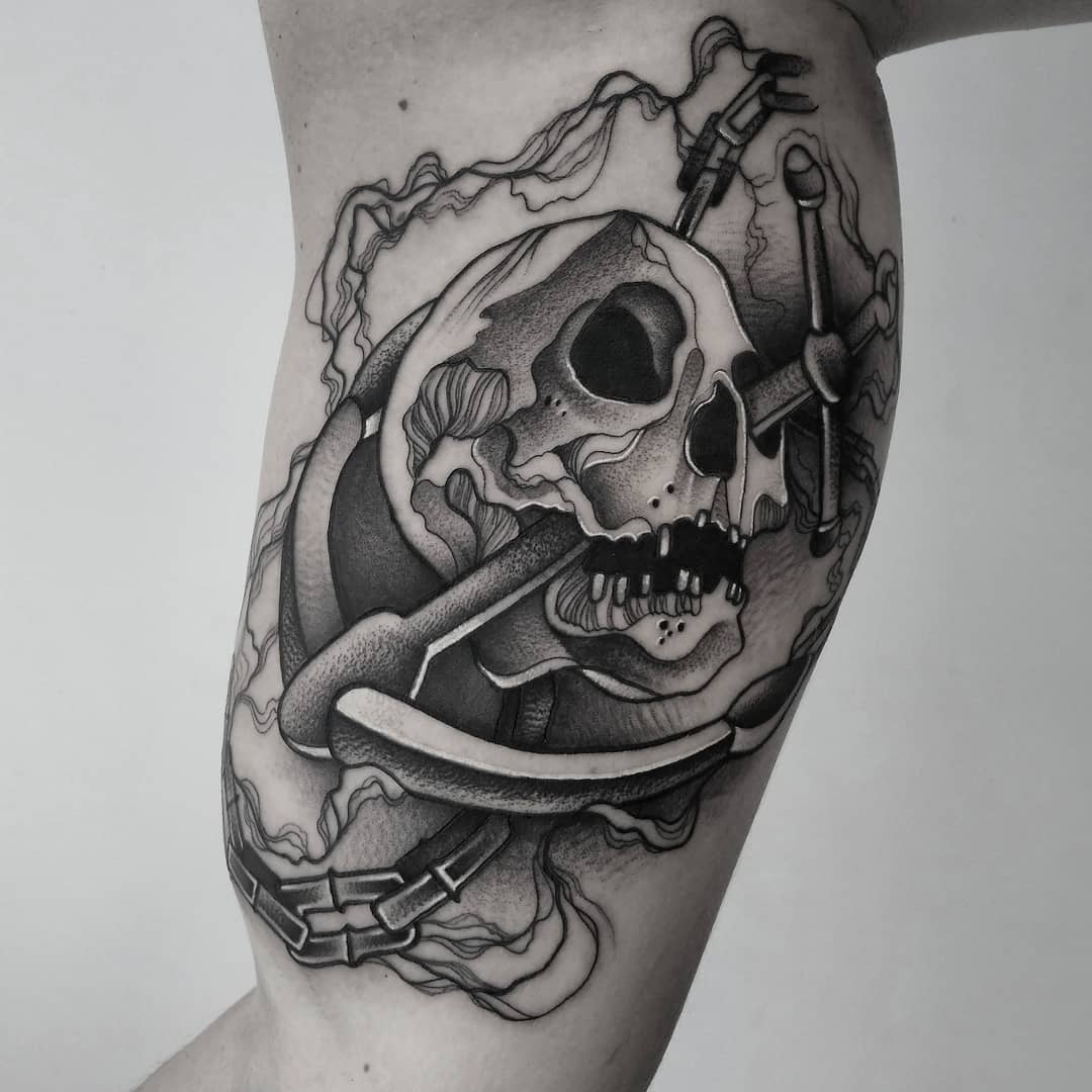 sketch for pirate tattoo, skull with sea anchor