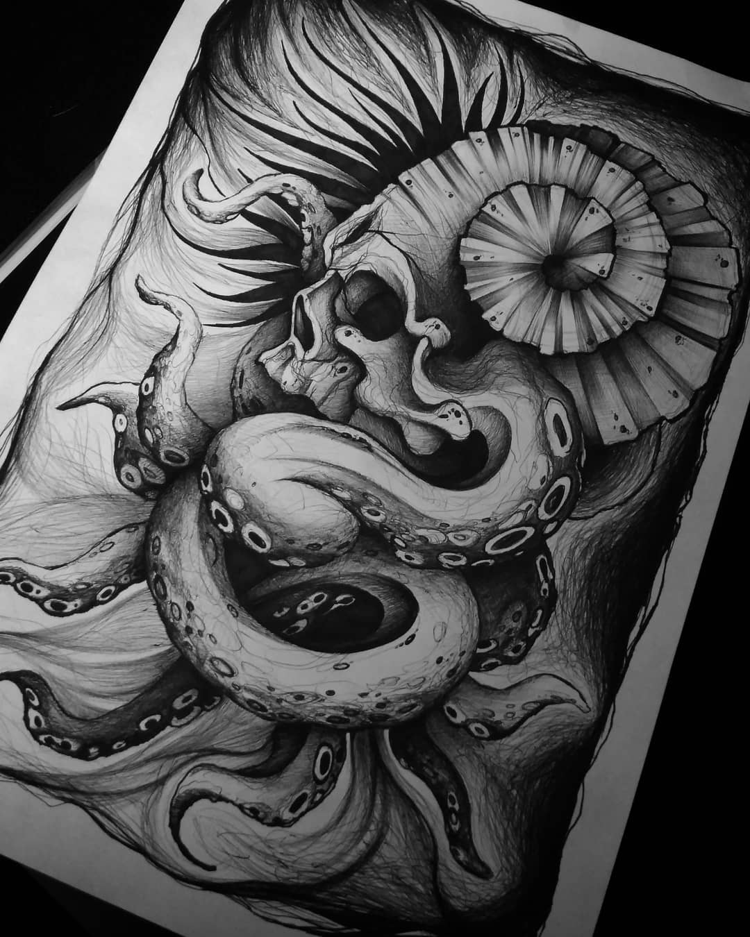 sketch of the tattoo on the sea theme, skull with octopus