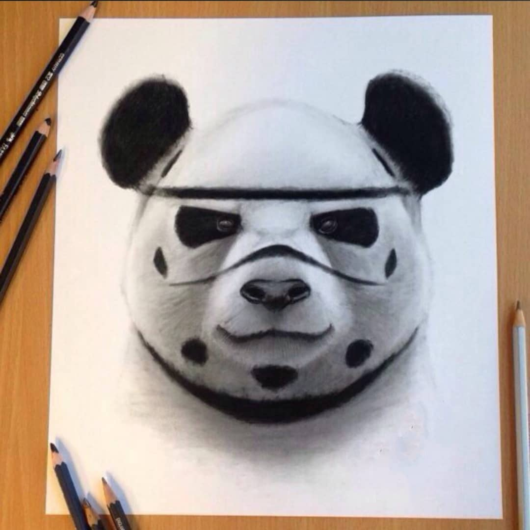panda pencil drawings for tattoo