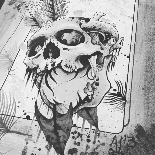 pencil skull drawings for tattoo
