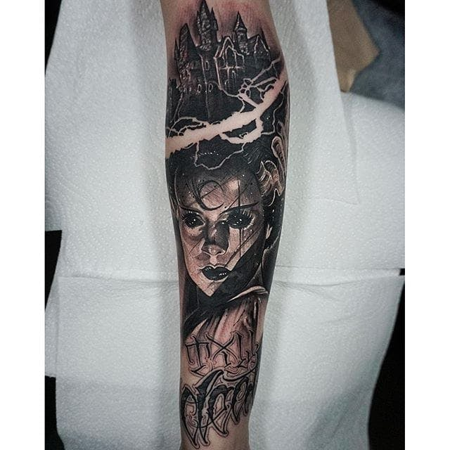 horror tattoo, demon girls