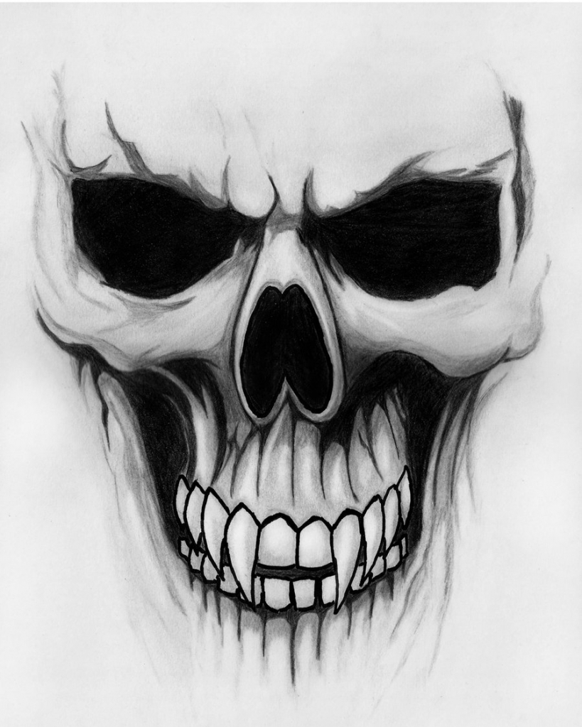 3D Skull Graffiti Drawing Ideas