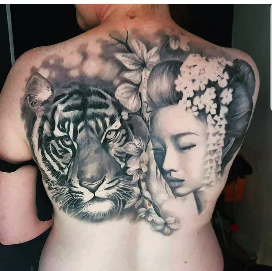 girl with a tiger on the back