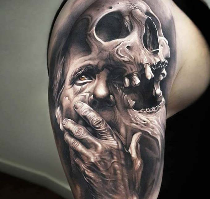 interesting idea of the author of the tattoo, skull and crying woman