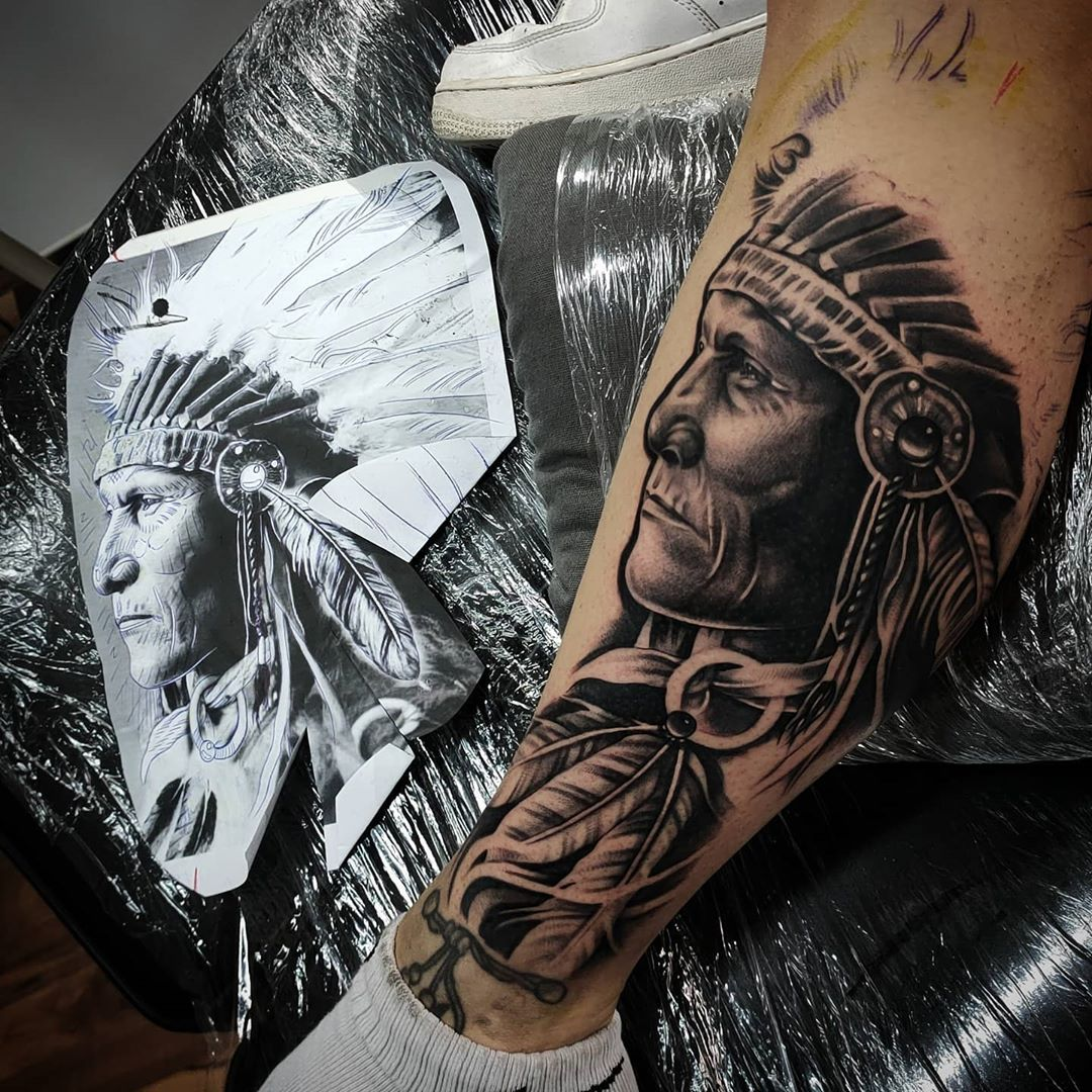 a very beautiful sleeve of a tattoo, an Indian and a sketch from which there were a tattoo