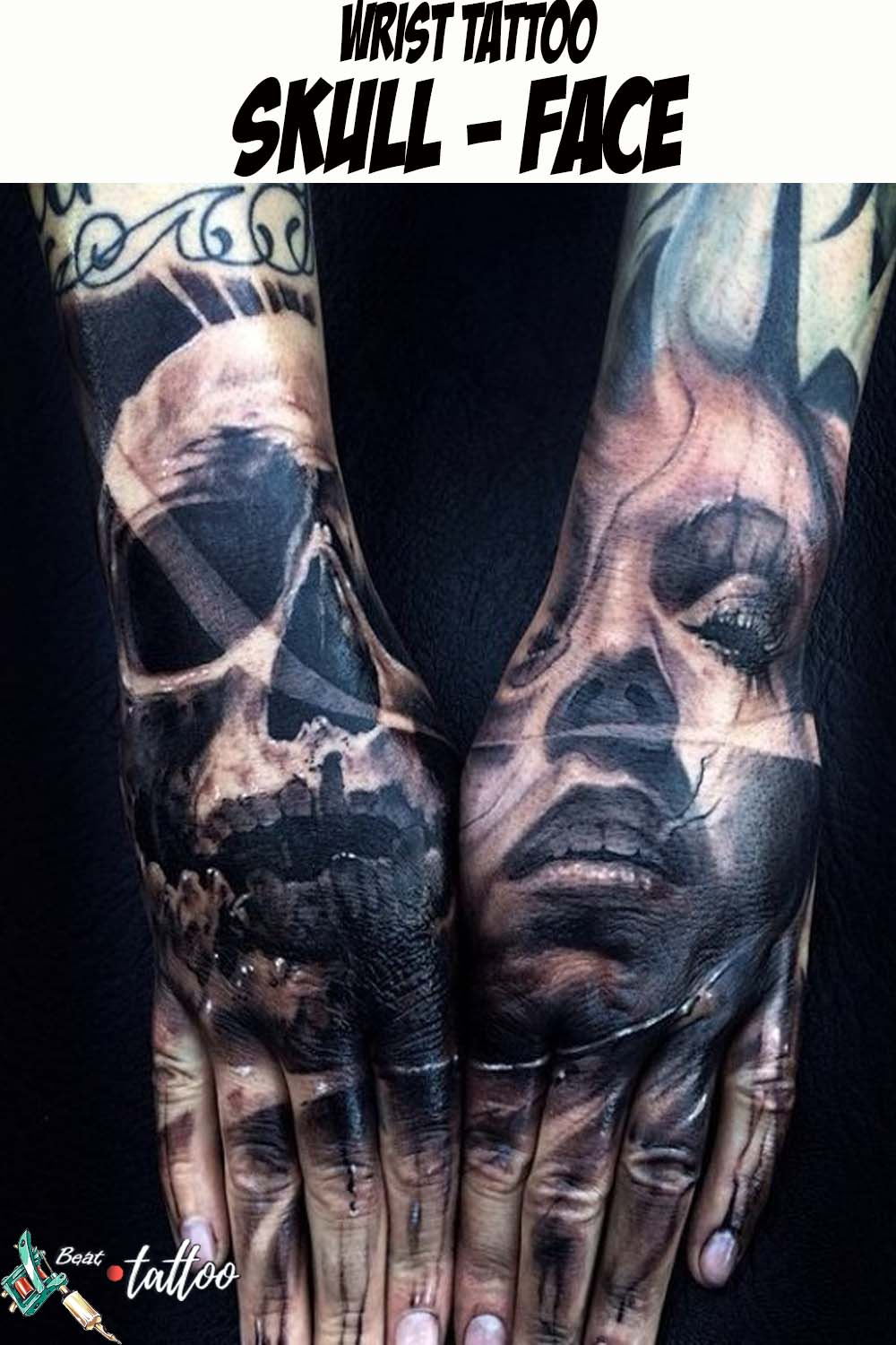 Palm Tattoo -Skull & Girl Face