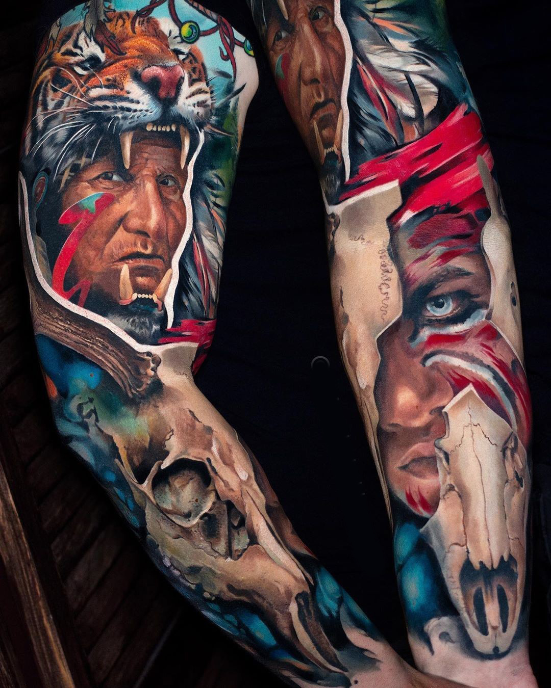 Indian Chief Sleeve Tattoo