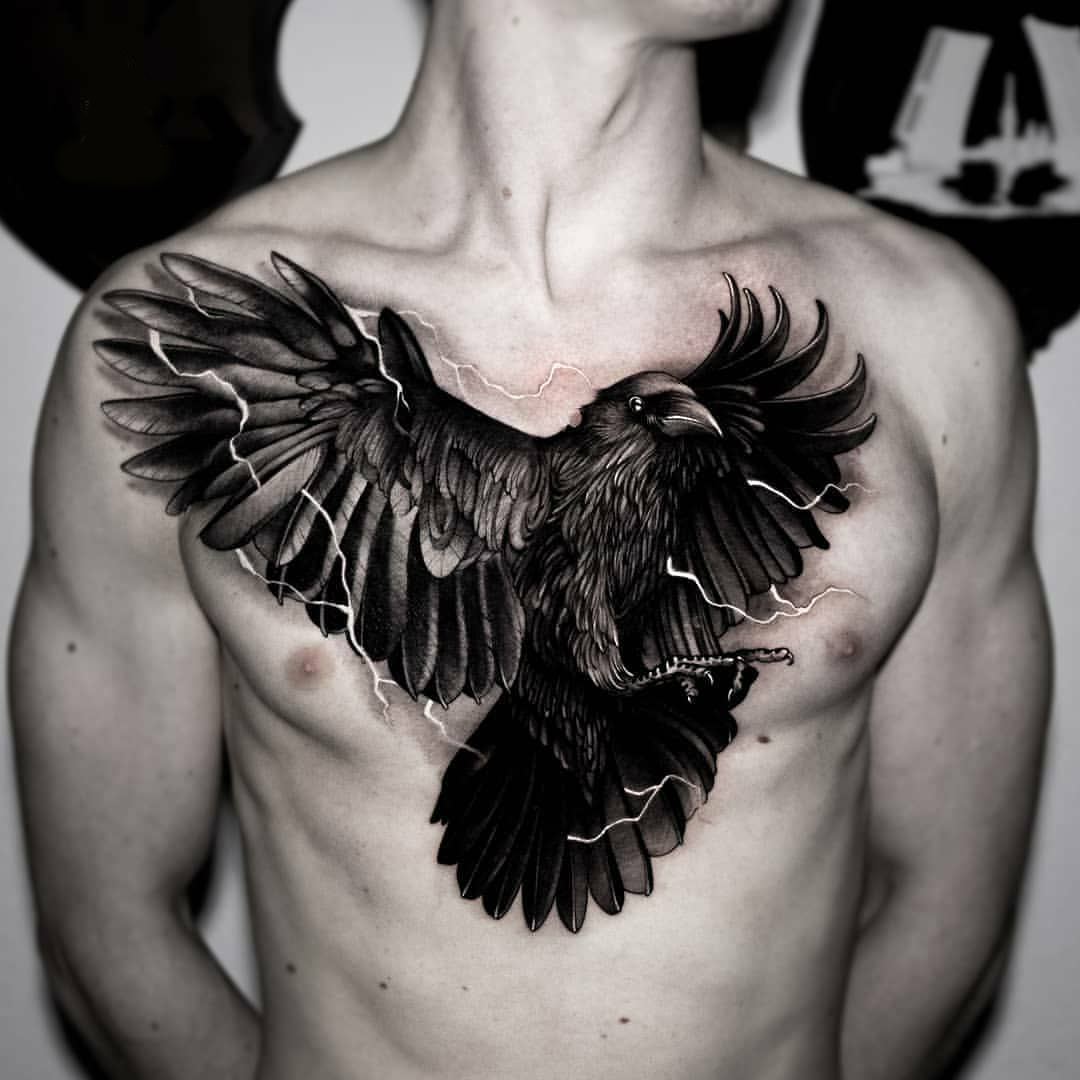 Black Crow tattoo on the guy's entire chest