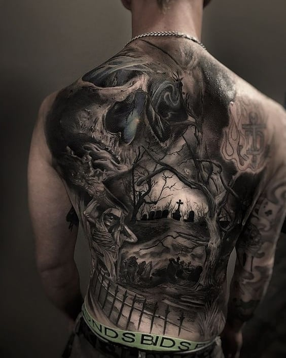 Large full back tattoo on the Halloween theme