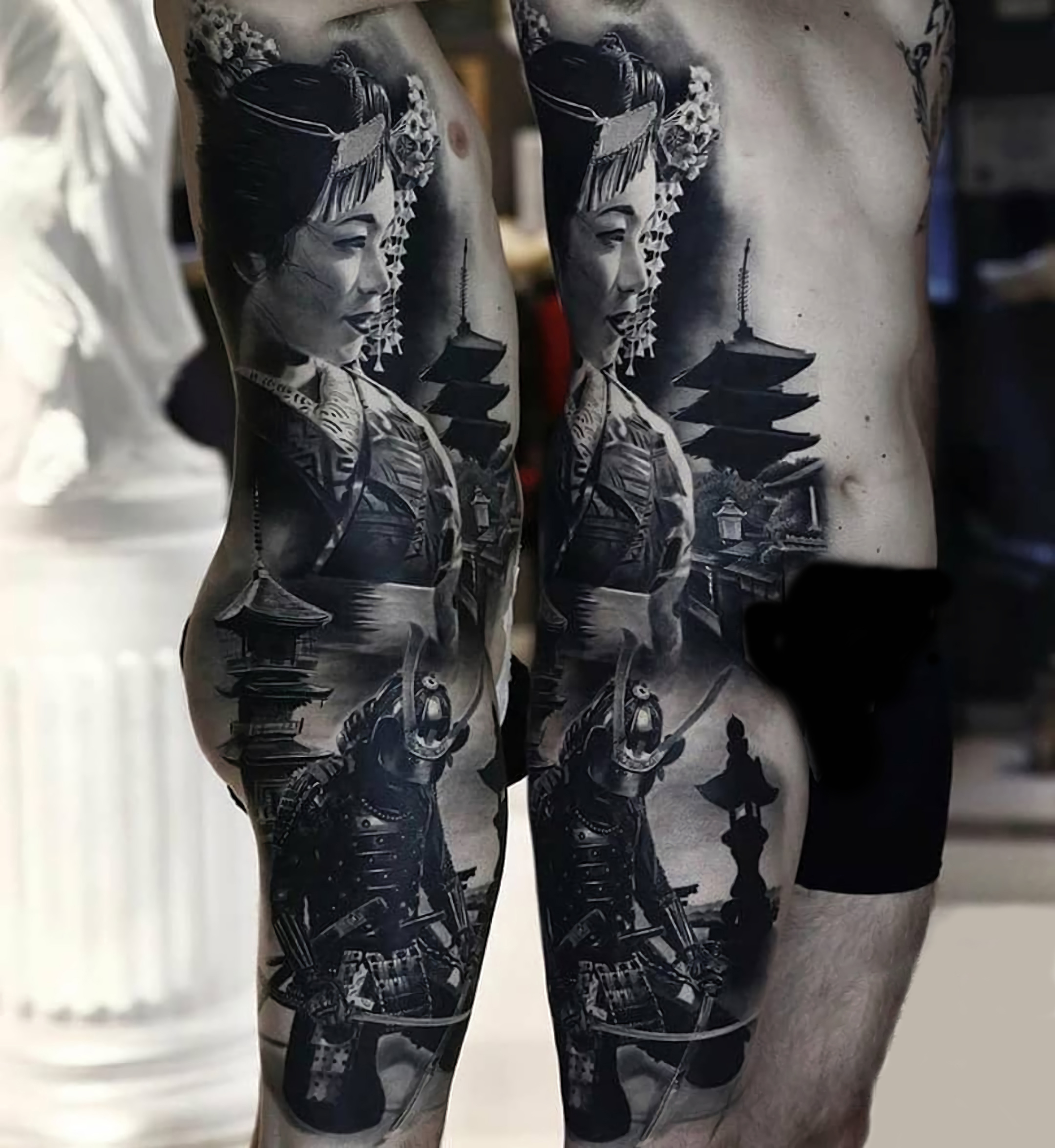 Very serious tattoo, on the whole body in Japanese style