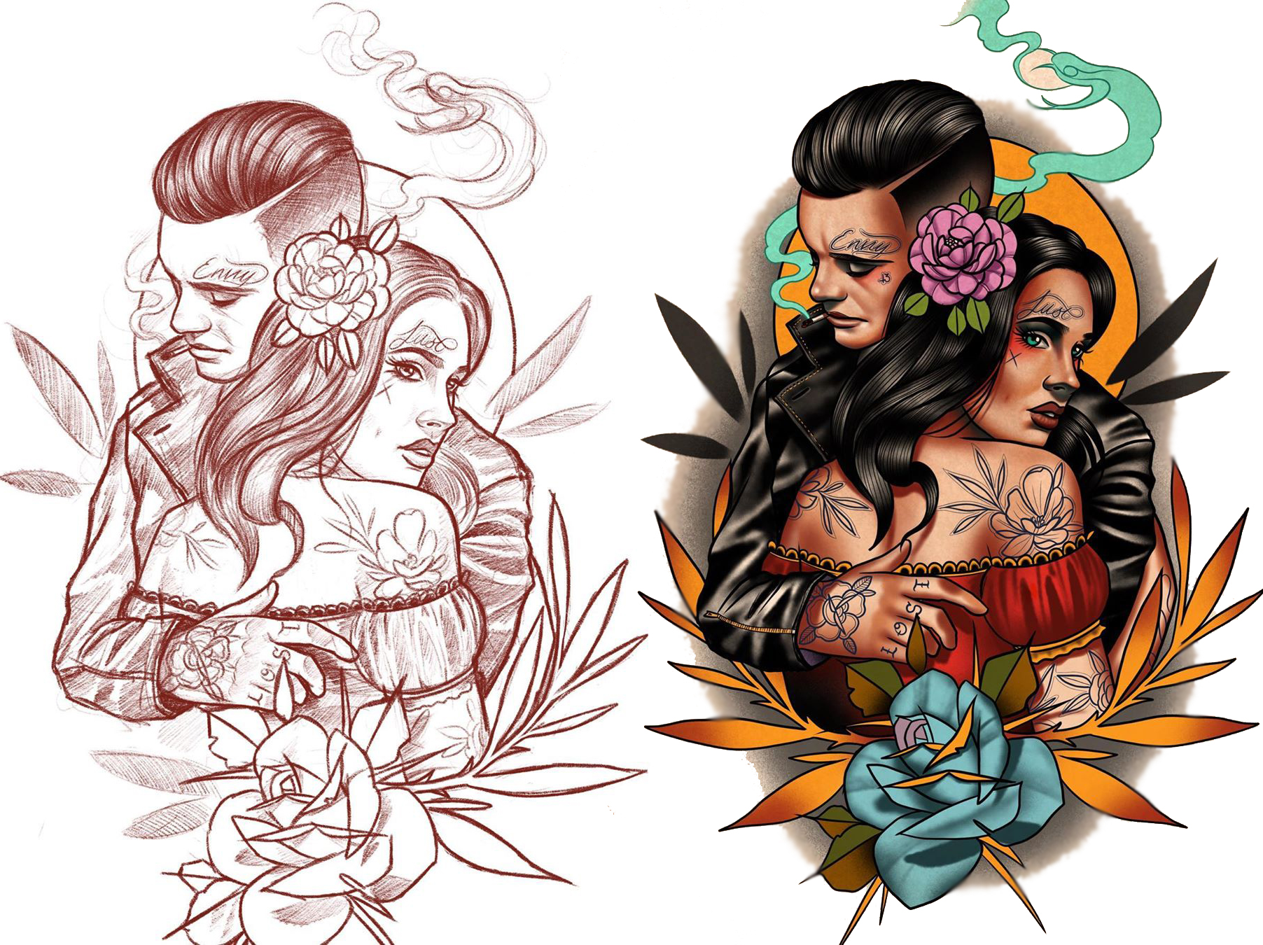 Sketch of tattoo, guy with 80s fashion girl # 2 Variation