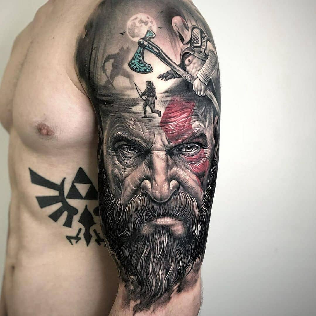 Tattoo on the shoulder to the elbow -Vikings of the Middle Ages