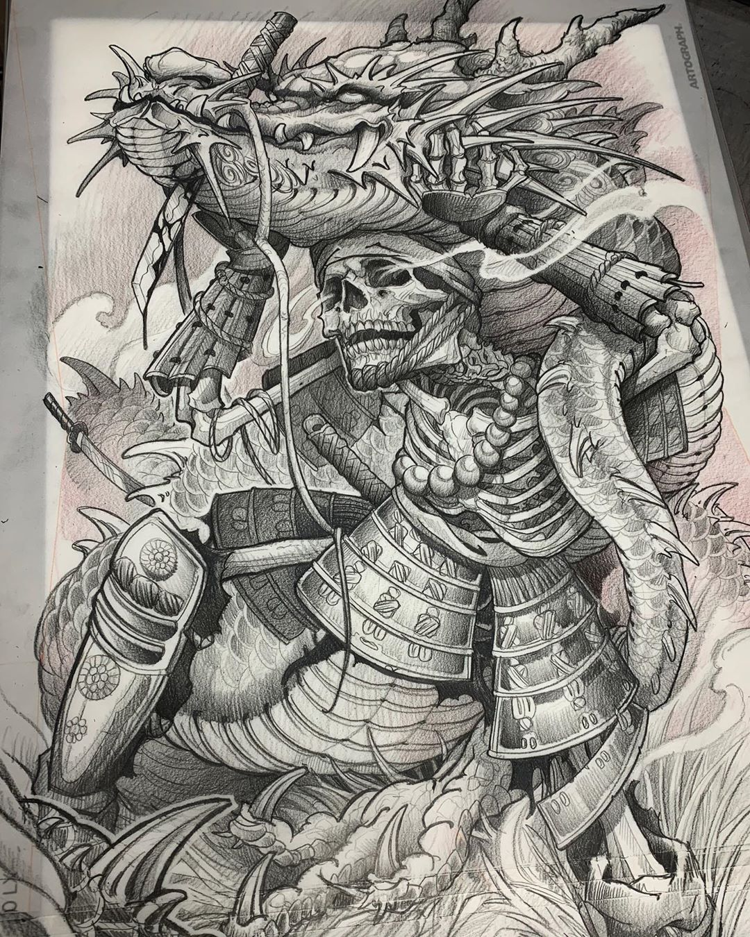 Japanese Style Sketch, Skeleton Samurai and the Prey Crocodile