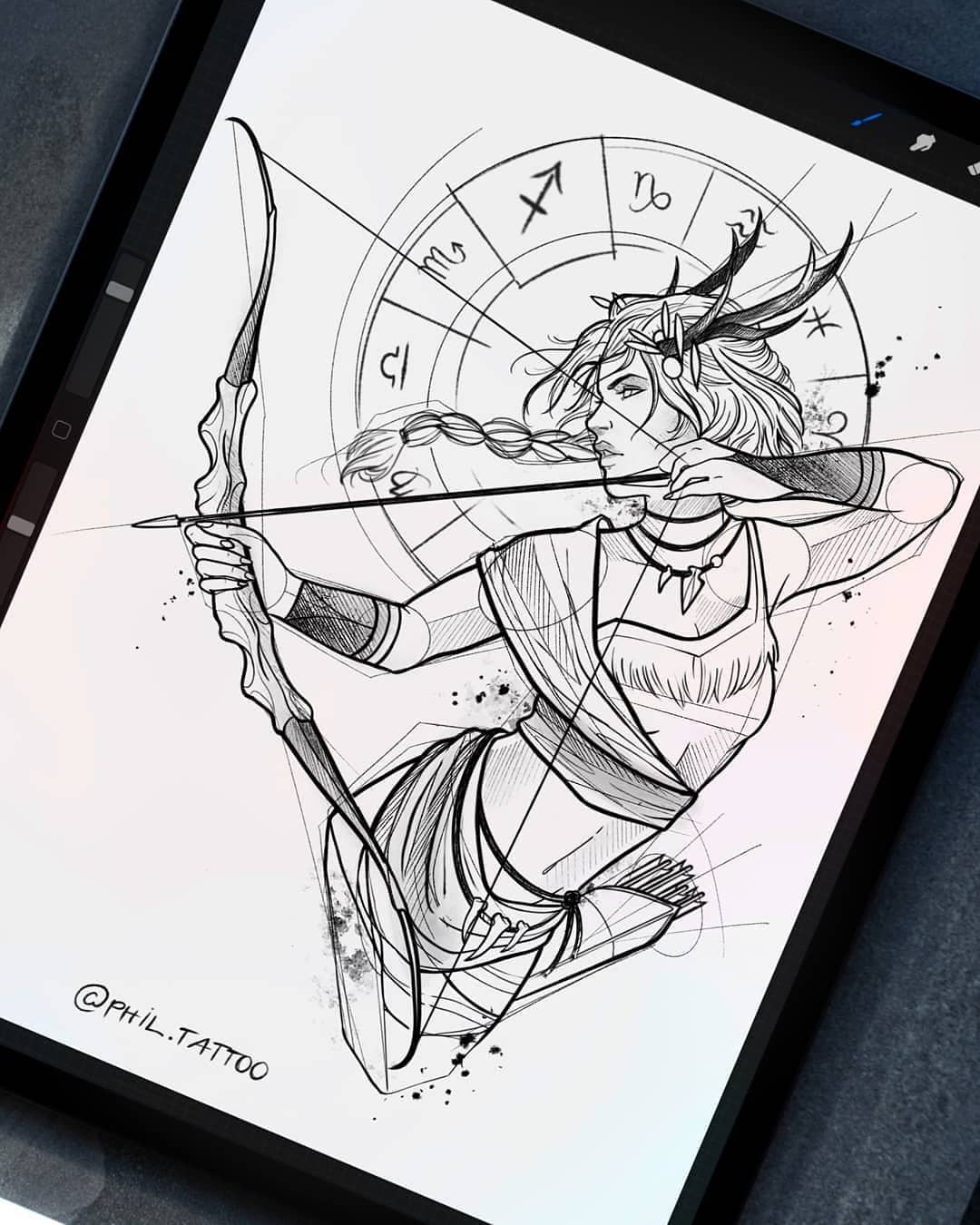 Sketch for a tattoo, a Sagittarius girl on the theme of the signs of the zodiac