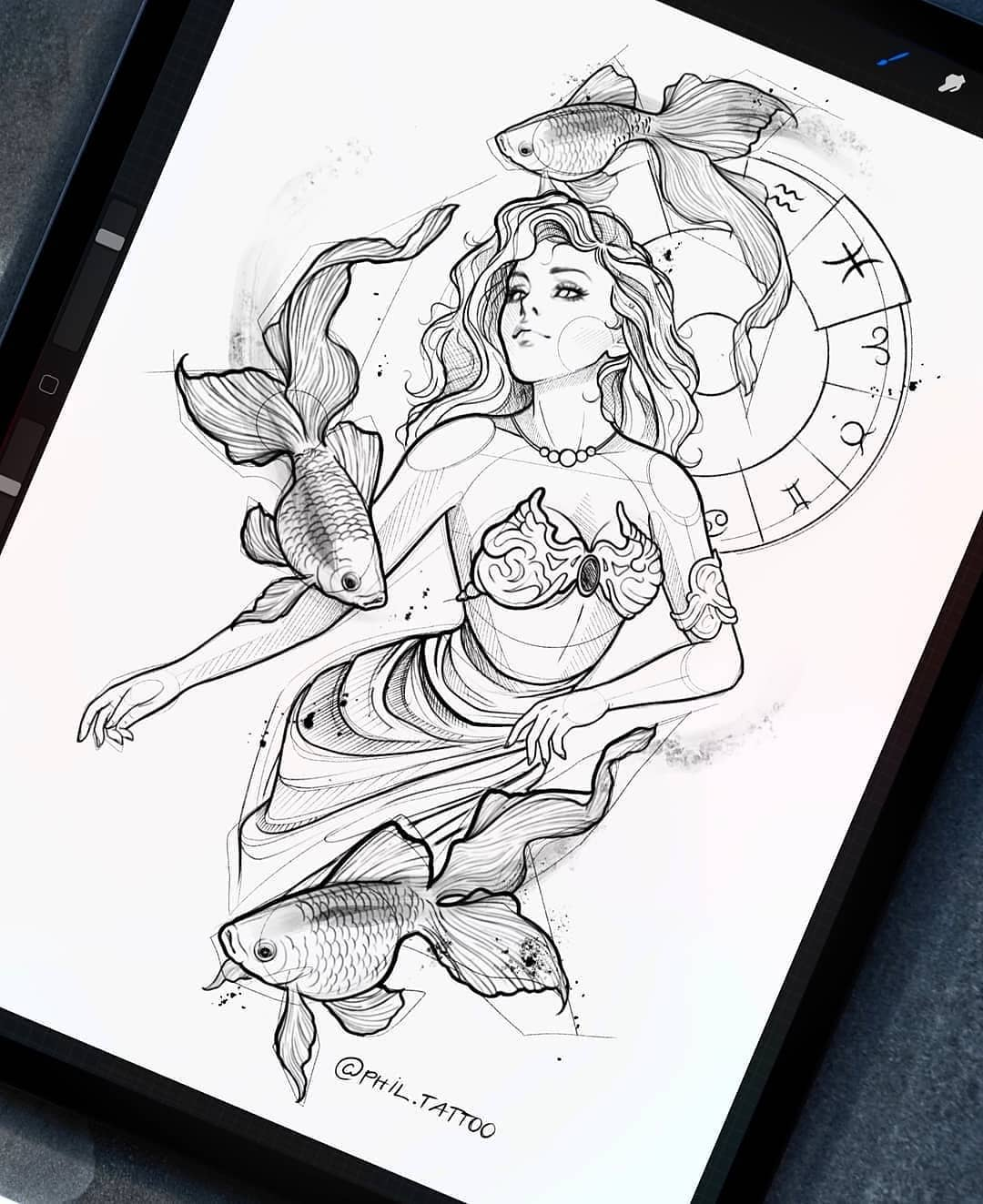 Sketch for tattoo, girl Pisces on the theme of the signs of the zodiac