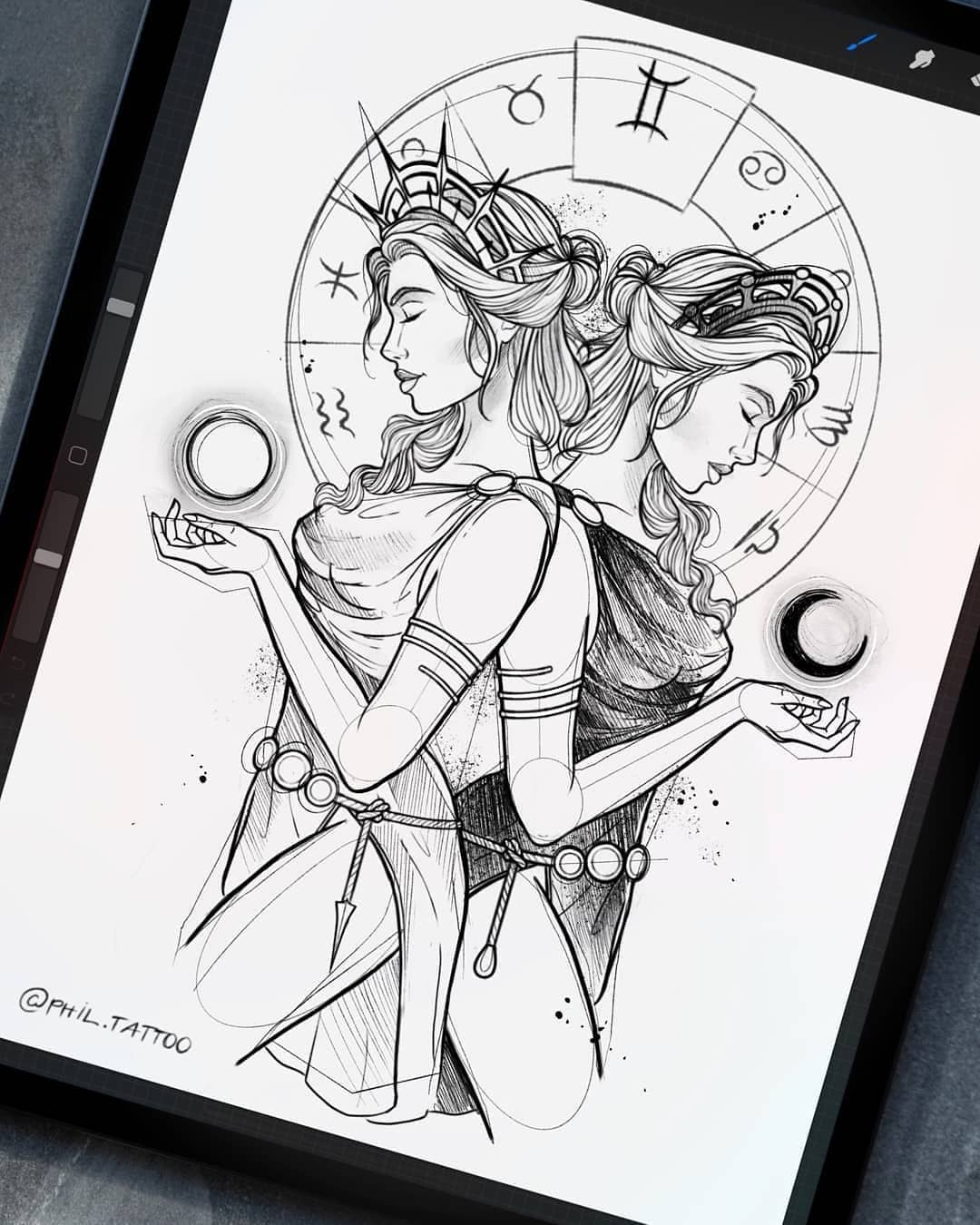 Sketch for a tattoo, a girl twins on the theme of the signs of the zodiac