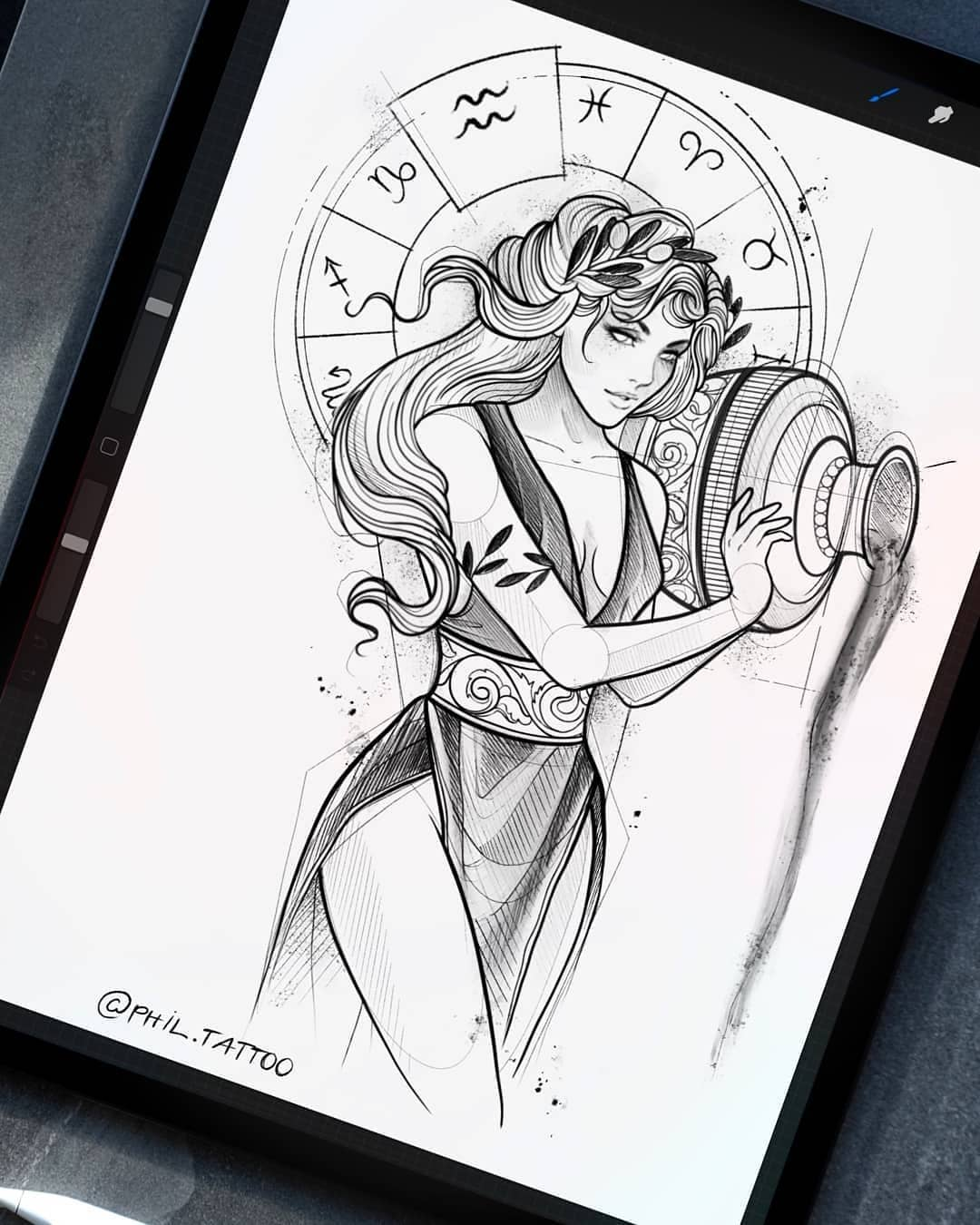 Sketch for tattoo, girl Aquarius on the theme of the signs of the zodiac