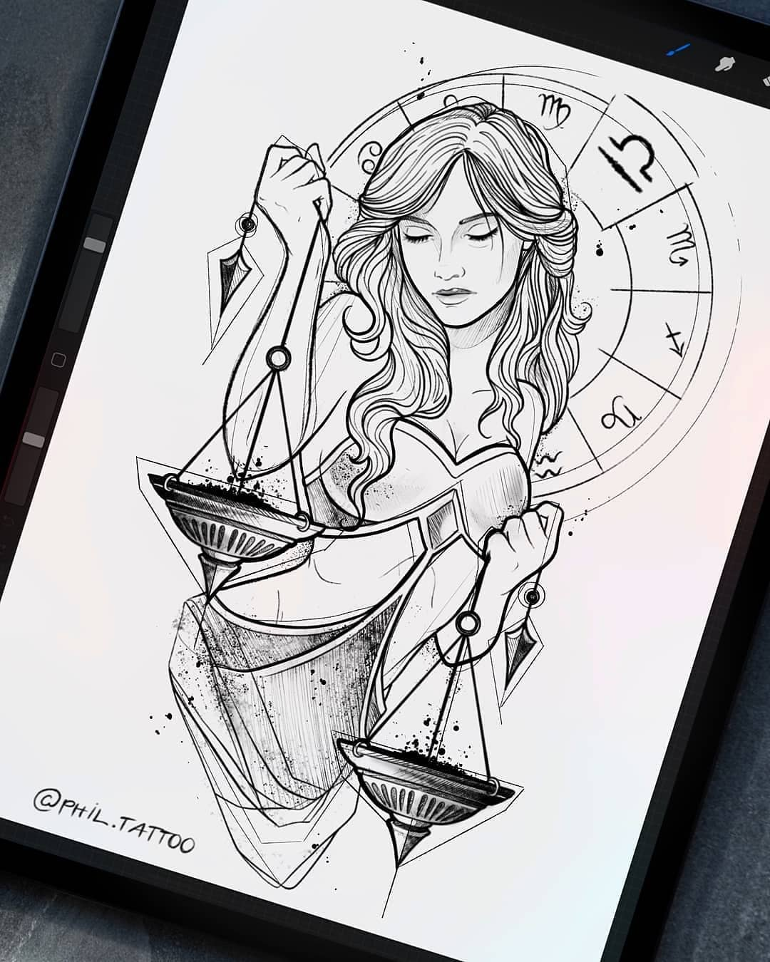 Sketch for tattoo, Libra girl on the theme of the signs of the zodiac