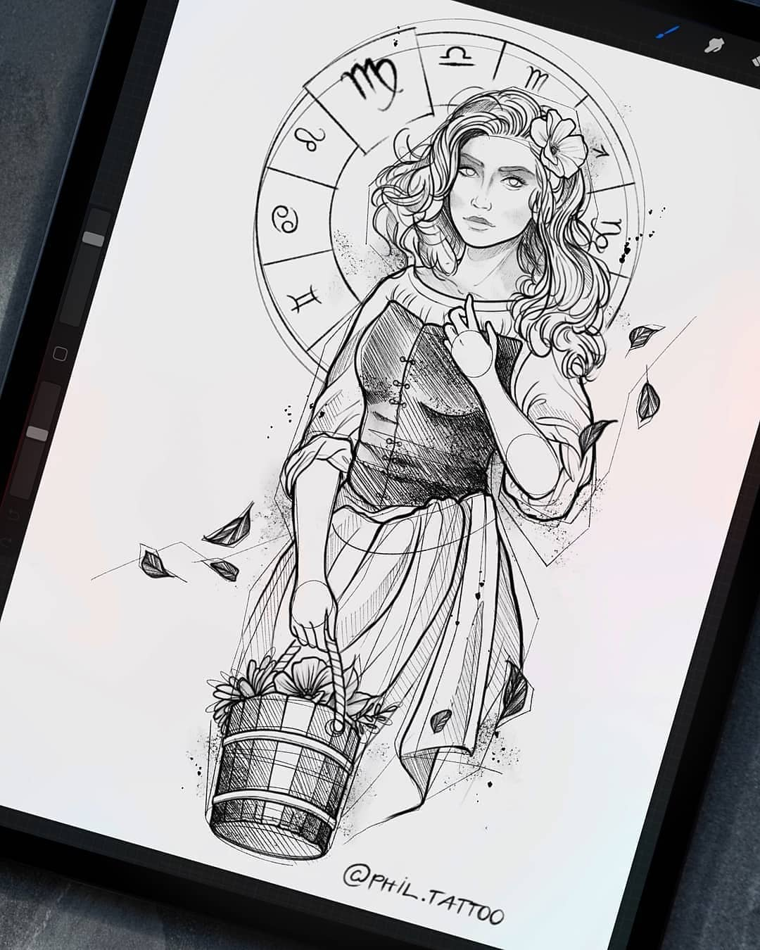 Sketch for tattoo, Virgo girl on the theme of zodiac signs